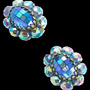 Vintage Unsigned Sapphire Aurora Borealis Ear Clips