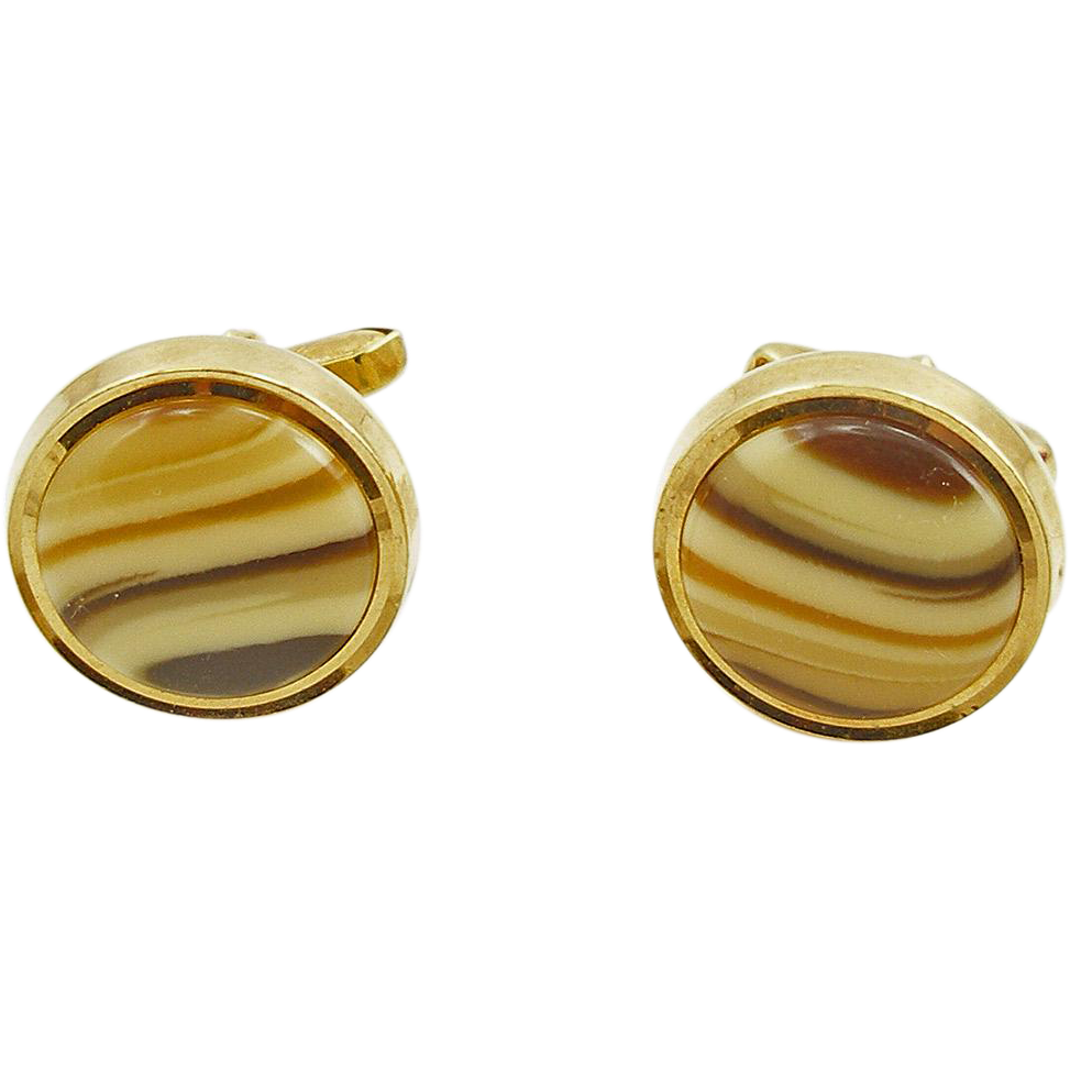 Vintage Costume Faux Banded Agate Cufflinks