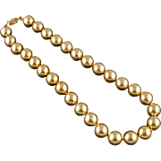 Unsigned Pale Gold Colored Glass Pearl Necklace