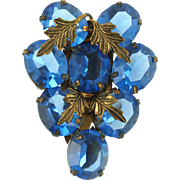 Vintage Blue CZECH Dress Clip