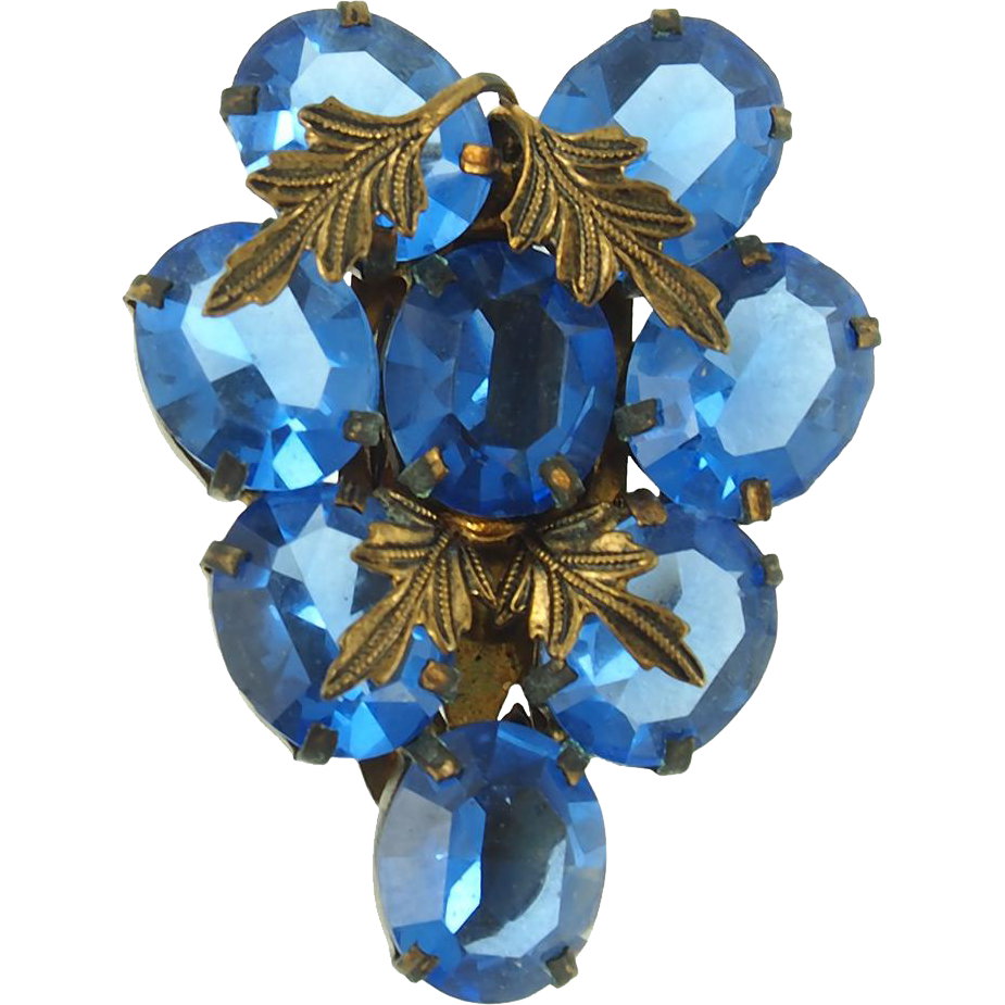 Vintage Blue CZECH Dress Clip
