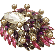 Unsigned Vintage Faux Pearl & Colored Rhinestone Brooch