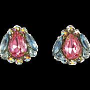 Vintage Signed  Robert Pastel Rhinestones Clip Earrings