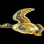 Vintage Figural Large Enameled Duck Brooch