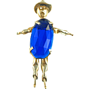 Vintage Figural Glass Belly Scarecrow Fur Clip