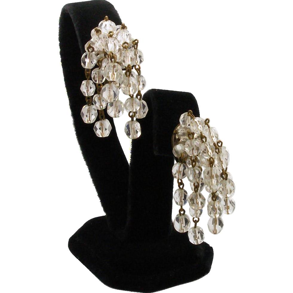 Vintage Western Germany Crystal Dangle Clip Earrings