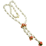 Vintage White Beaded Floral Lariat Style Necklace