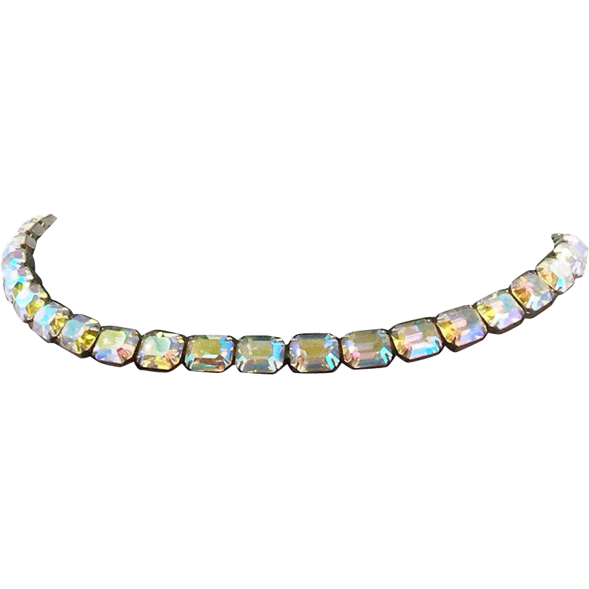 Vintage Signed Weiss Aurora Borealis Necklace