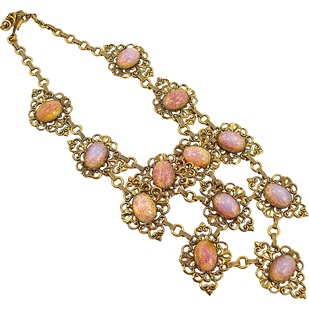 Unsigned Vintage Glass Opal Bib Necklace