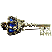 Vintage Walter Lampl Sterling & Enamel Key Pin