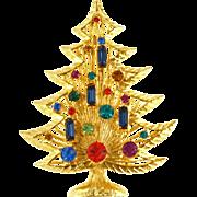 Vintage Jeweled Harp Style Christmas Tree Pin