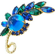 Vintage DeLizza & Elster Blue & Green Leaf Pin