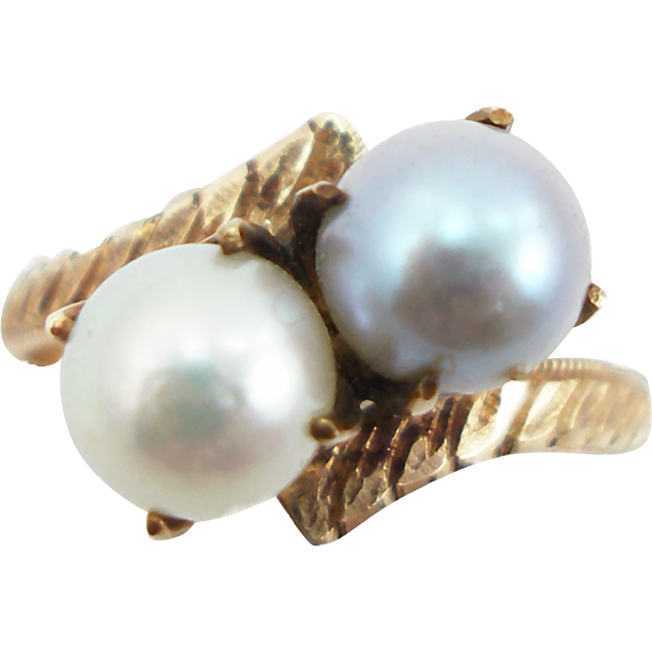 Vintage 14K Double Pearl Ring in Bypass Setting