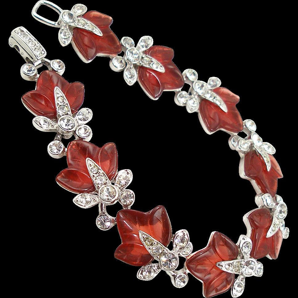Vintage Signed HSM1992 Faux Ruby Leaf Bracelet