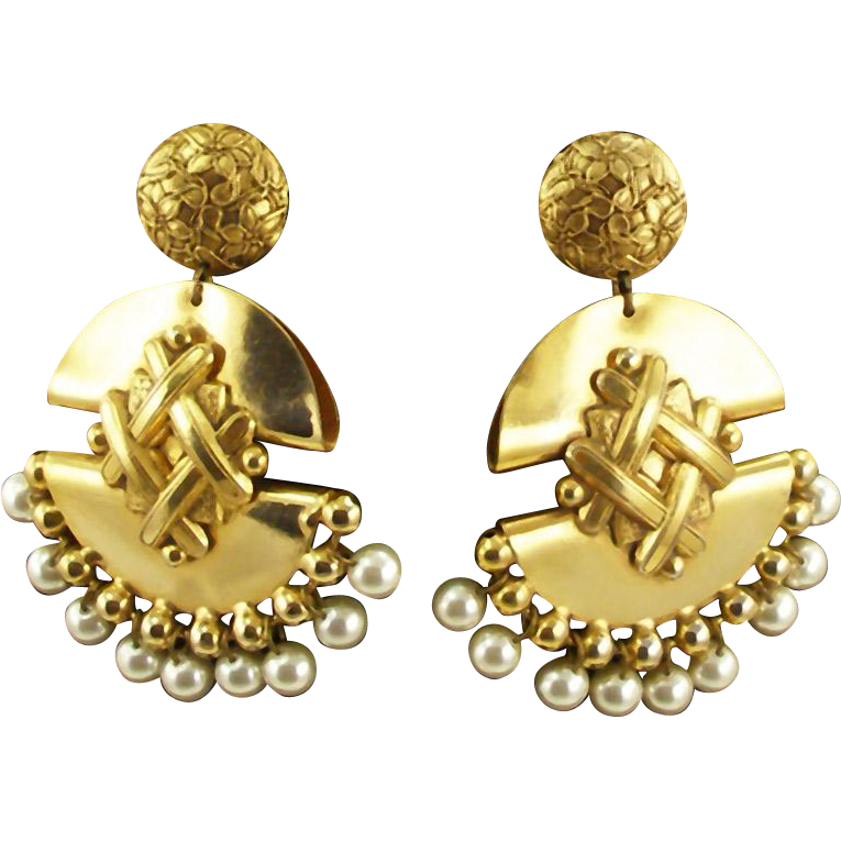 Vintage Exotic Brass Runway Clip Earrings
