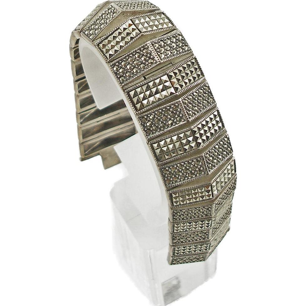 Vintage Signed Judith Jack Heavy Sterling & Marcasite Link Bracelet