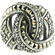 Vintage Judith Jack Sterling and Marcasite Swirl Ring