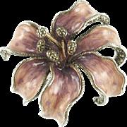 Designer Judith Jack Enameled Sterling Floral Pin