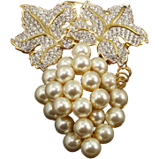 Vintage Swarovski Faux Pearl & Crystal Grapes Pin