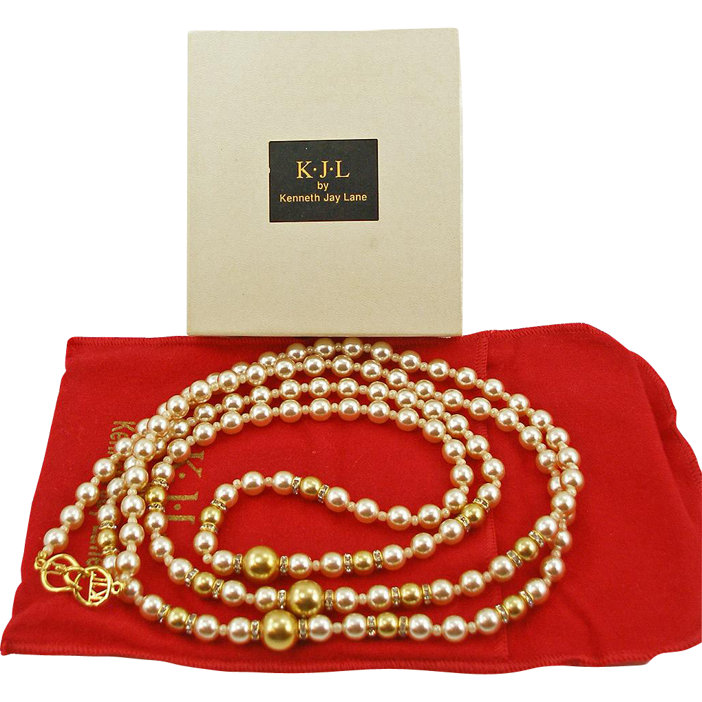 Signed Kenneth J Lane KJL Long Glass Pearl Necklace
