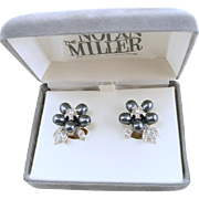 Vintage Signed Nolan Miller Grey Faux Pearl Clip Earrings