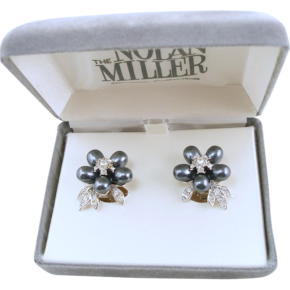 Vintage Signed Nolan Miller Grey Faux Pearl Clip Earrings