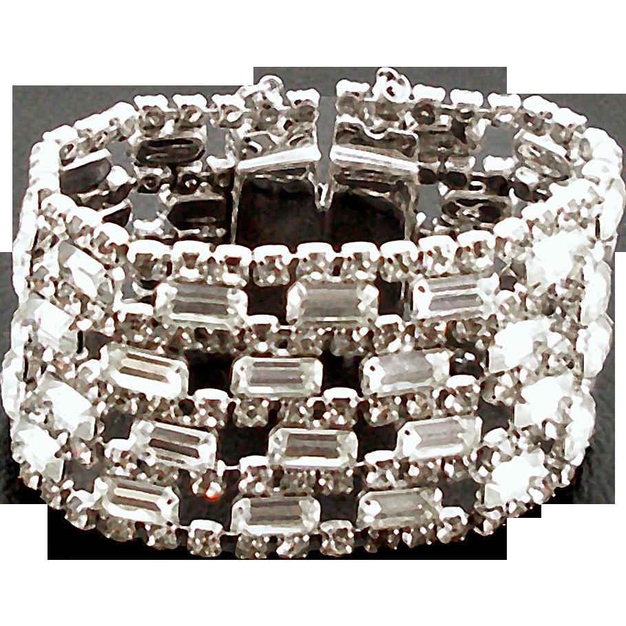 Unsigned Wide Vintage Crystal Rhinestone Bracelet