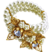 Vintage Memory Wire Faux Pearl Bracelet with Floral Attachments