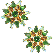 Vintage Trifari Green and Smoked Topaz Earrings