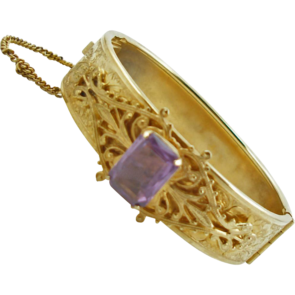 Vintage Etched Gold Tone Bangle with Faux Amethyst