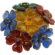 Vintage Plastic Domed Multi Flower Pin