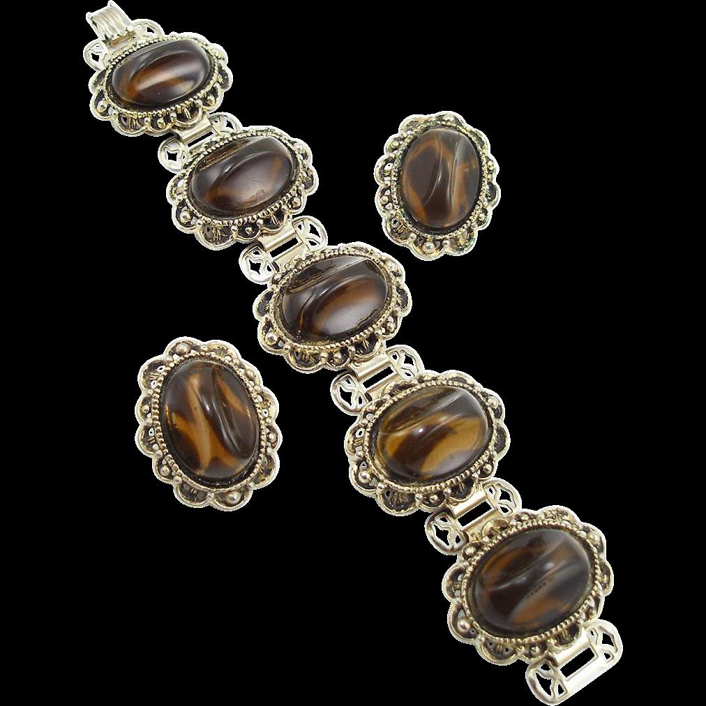Vintage Chunky Faux Tiger Eye Bracelet