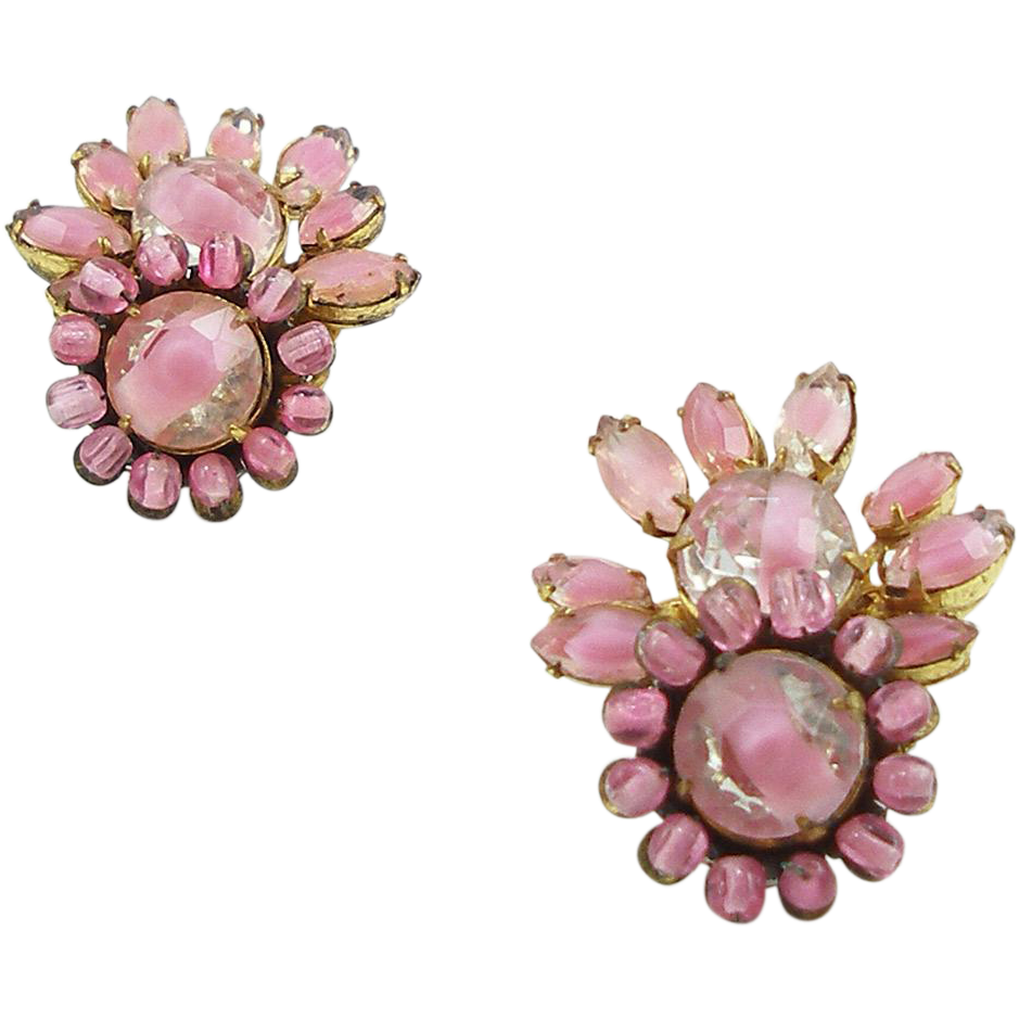 Vintage Signed Miriam Haskell Pink Givre Glass Clip Earrings