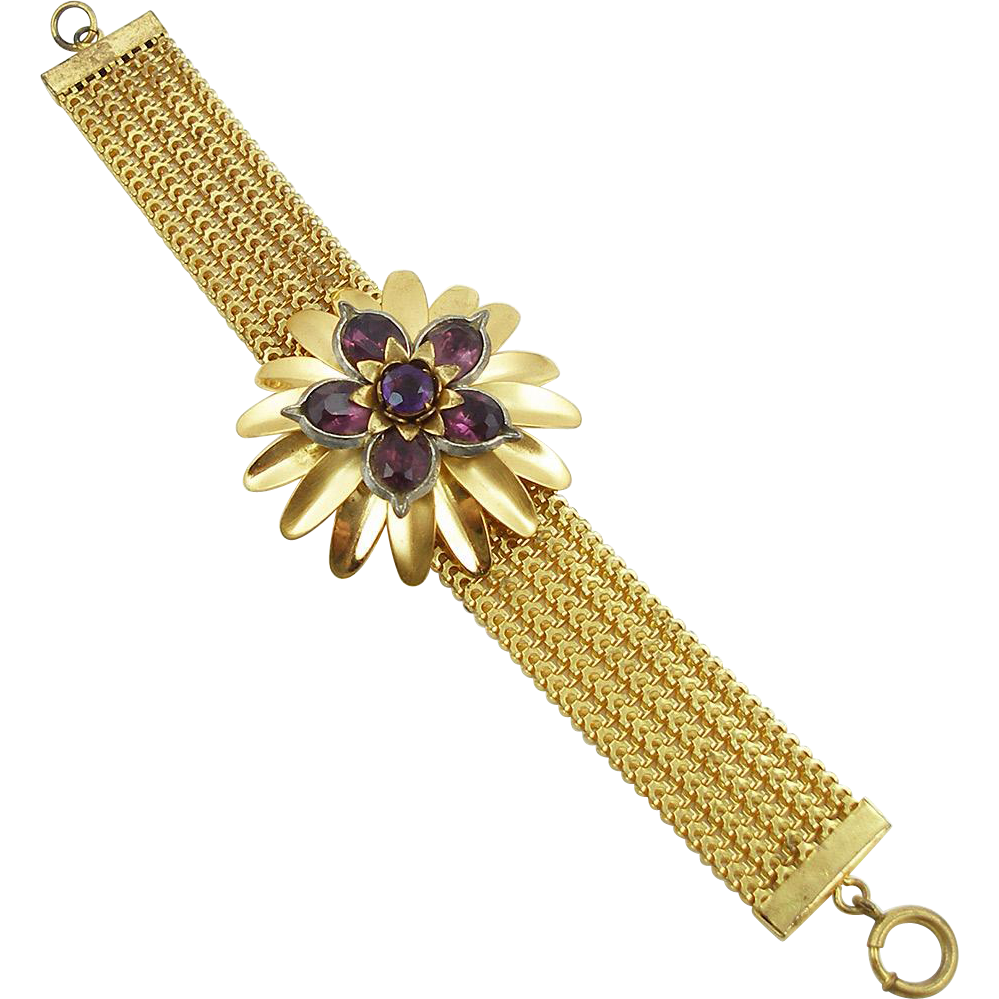 Vintage Unsigned Faux Amethyst Floral Bracelet
