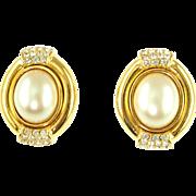 Vintage Ciner Faux Pearl & Rhinestone Clip Earrings
