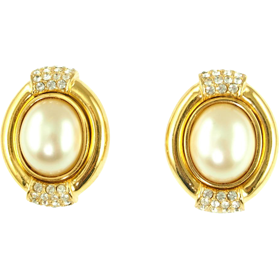 Vintage Ciner Faux Pearl & Rhinestone Clip Earrings
