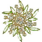 Vintage Juliana DeLizza & Elster Peridot & Crystal Pin