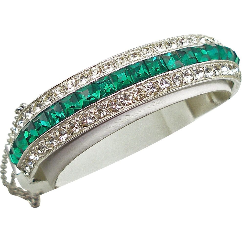 Vintage Signed ORA Faux Diamond & Emerald Art Deco Bracelet