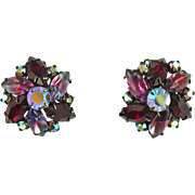 Vintage Unsigned Clip Earrings with Red & Sabrina Stones
