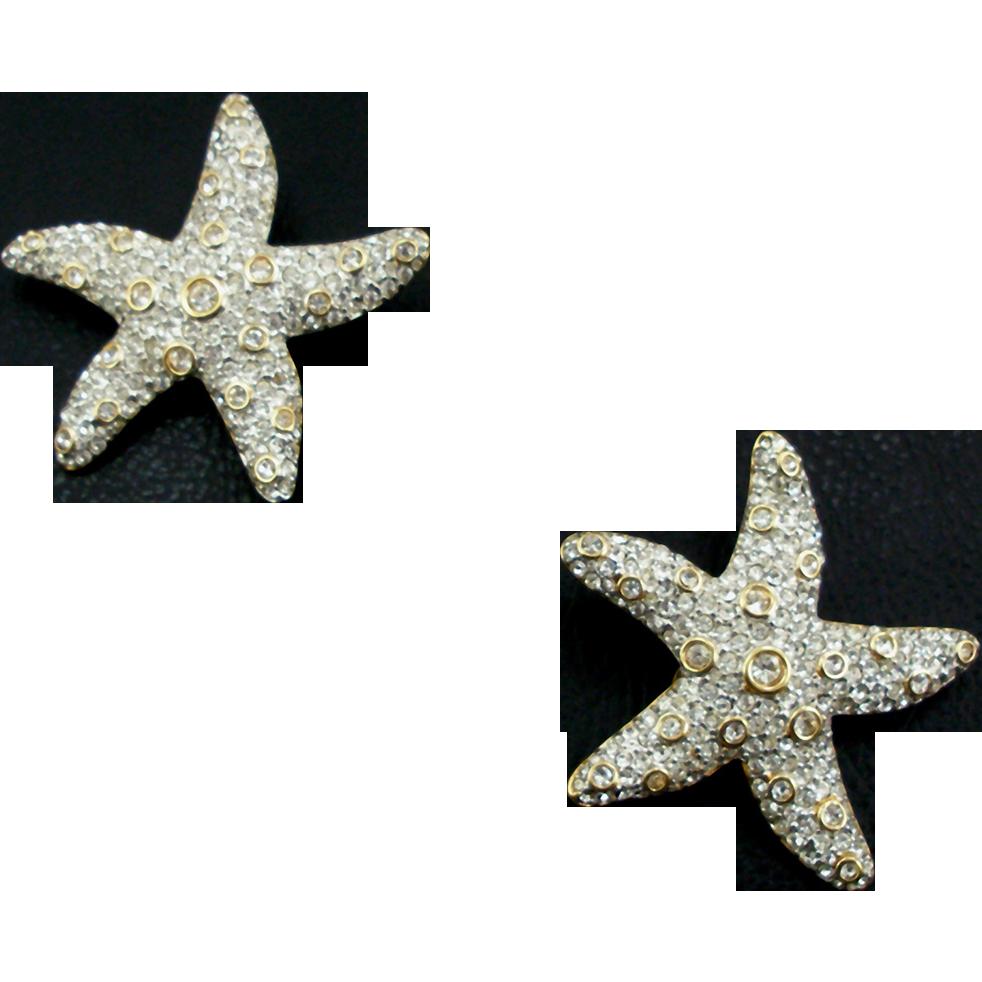Vintage Swarovski Starfish Clip Earrings