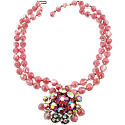 Vintage Pink Givre Beaded Necklace with Multi Stone Centerpiece