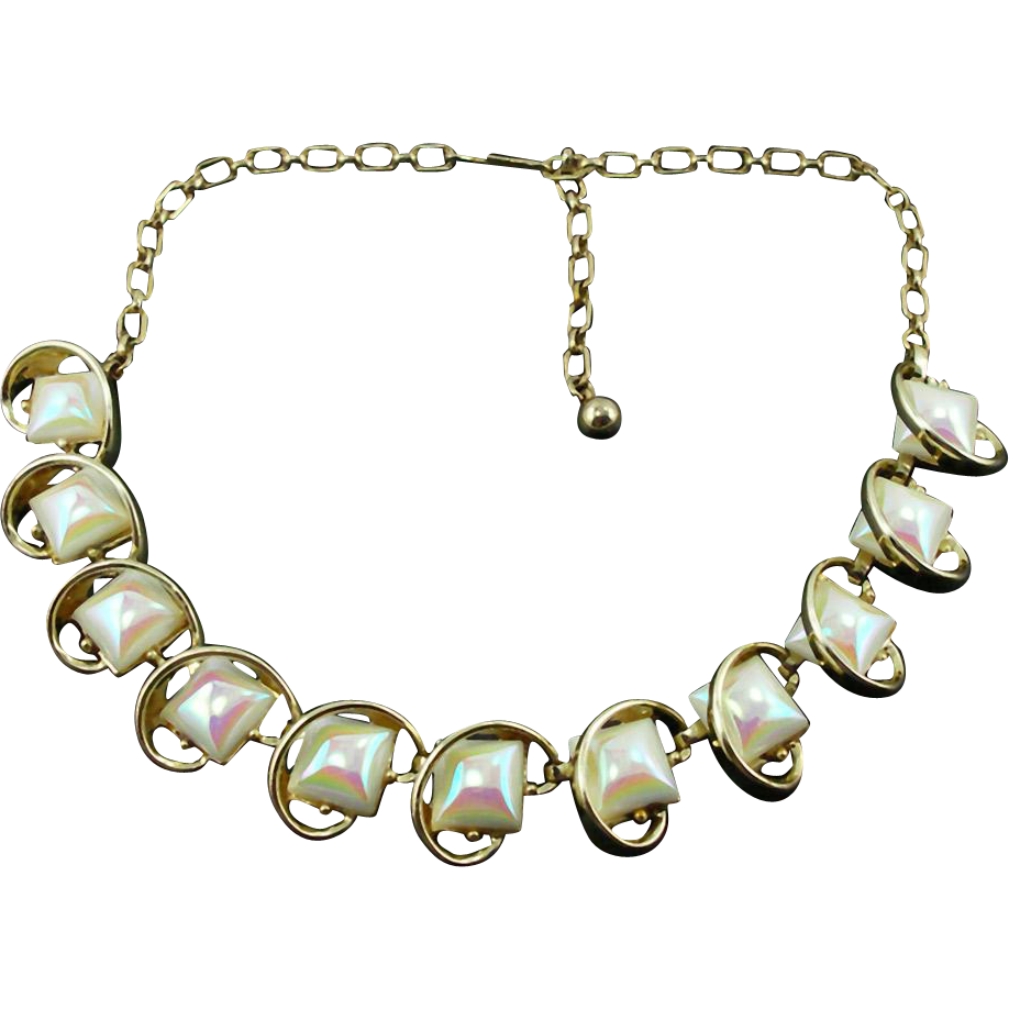 Unsigned Vintage Pastel Opalescent Necklace