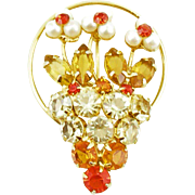 Vintage Unsigned Rhinestone Jeweled Flower Basket Pin
