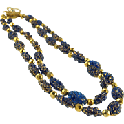 Vintage Blue & Gold Art Glass Beaded Necklace