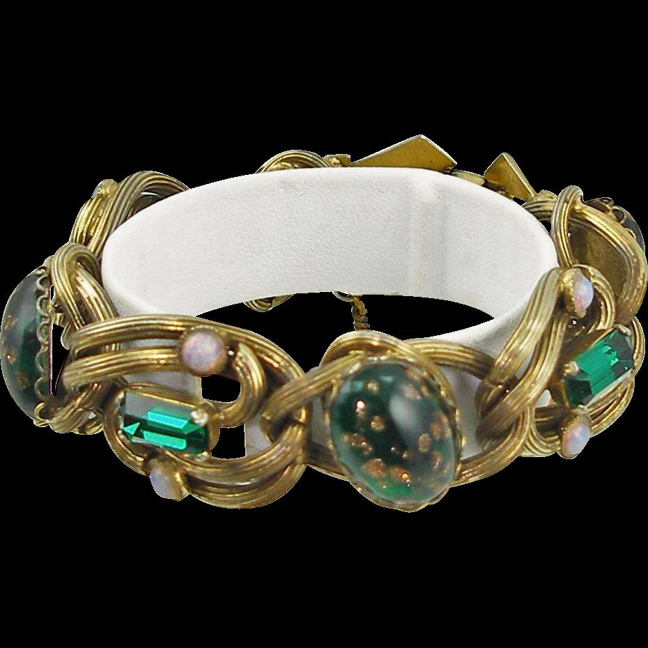 Unsigned Vintage Chunky Art Glass Bracelet