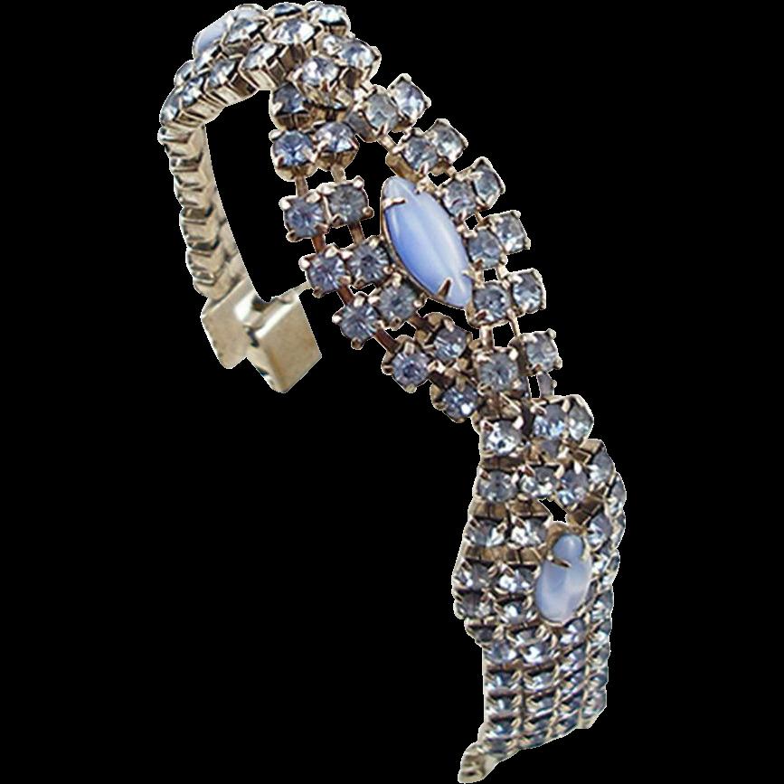 Vintage Unsigned Blue Rhinestone Bracelet