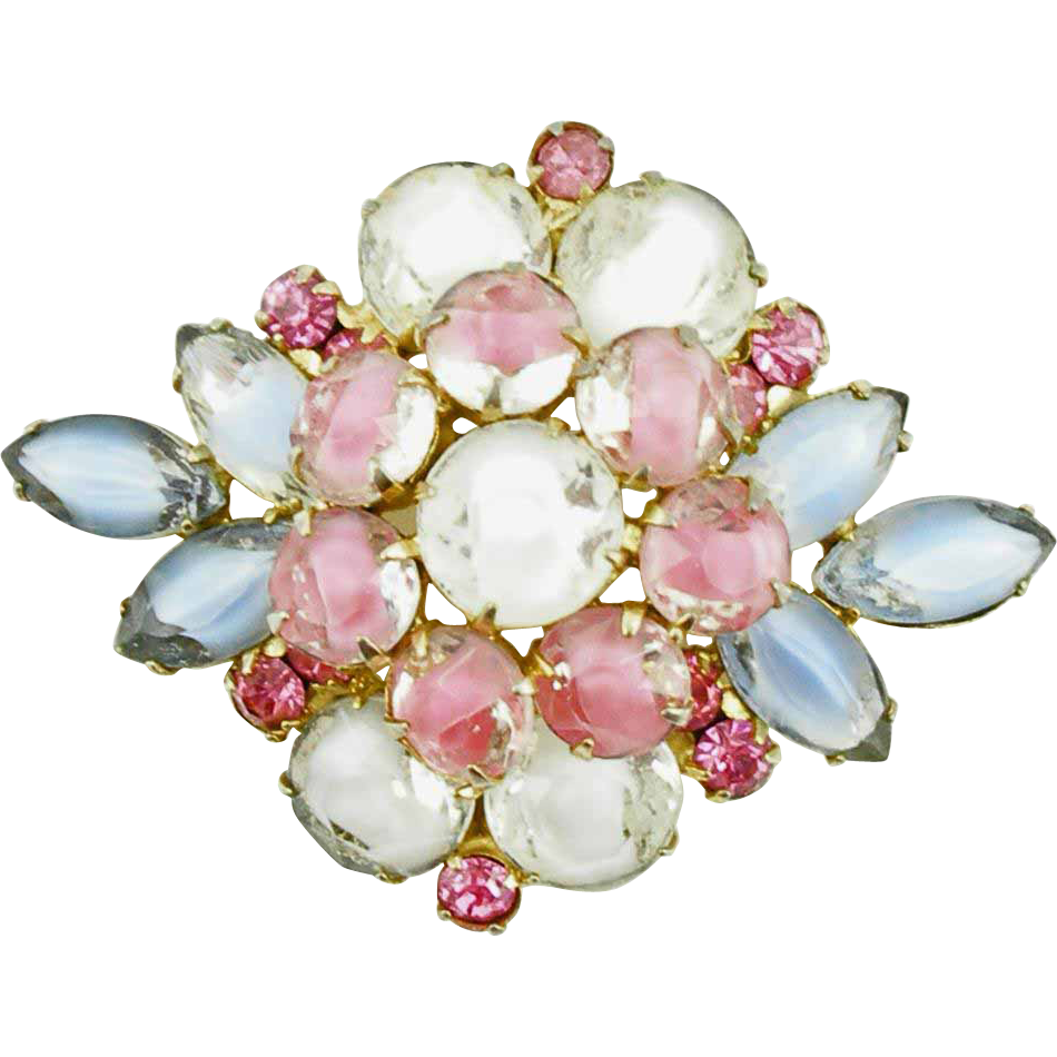 Unsigned Vintage Pink, Blue & White Givré Stone Brooch