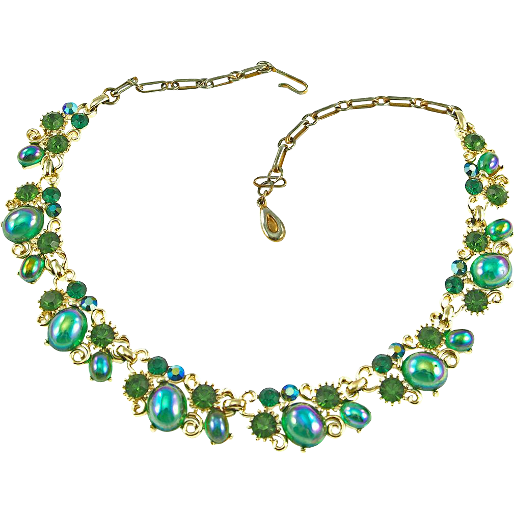 Vintage Lisner Carnival Glass Necklace