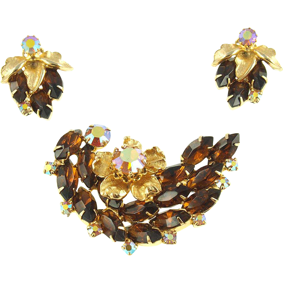 Unsigned Vintage Smoked Topaz Floral Pin & Earrings Set