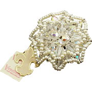Vintage Signed Vendome Colorless Aurora Borealis Ruffle Pin
